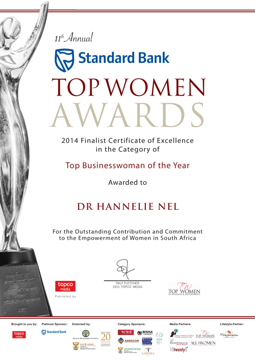 Top Women Awards Certificate